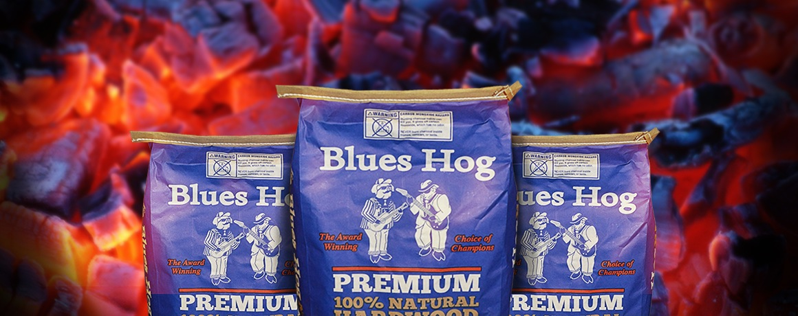 Blues Hog Charcoal brands hero background
