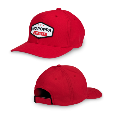 Big Poppa Smokers Red Vintage Patch Hat - Flexfit