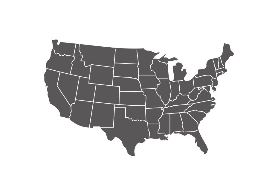 A map of the United States with each state outlined